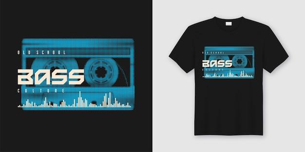 T-shirt de baixo à moda antiga e design moderno com cassete de música estilizada, impressão