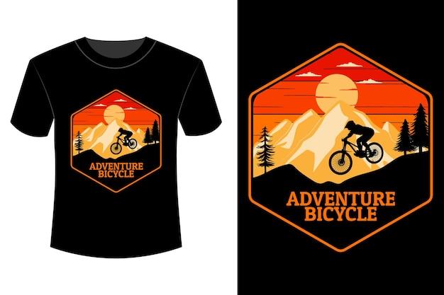 T-shirt de bicicleta aventura com design retro vintage