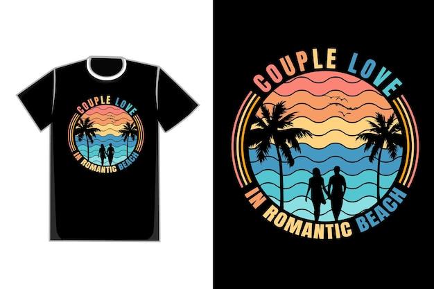 T-shirt de casal romântico na praia casal título amor em praia romântica