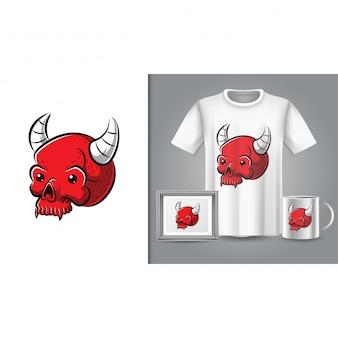 T-shirt de caveira vermelha e merchandising