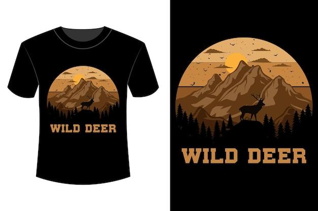 T-shirt de cervo selvagem com design vintage retro