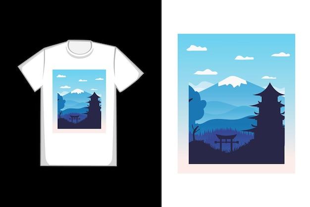 T-shirt de design bonito templos de montanha cor azul gradiente