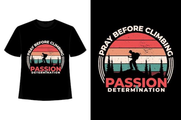 T-shirt de escalada pinheiro montanha retro vintage
