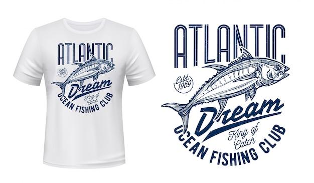 T-shirt de esporte pesca clube impressão com desenho de peixe