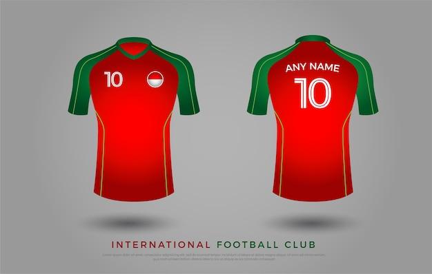 T-shirt de futebol design uniforme conjunto de kit de futebol. modelo de camisa de futebol para o clube de futebol