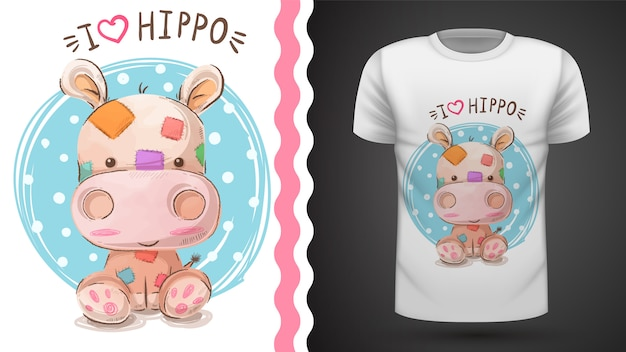 T-shirt de hipopótamo