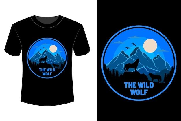 T-shirt de lobo selvagem com design vintage retro