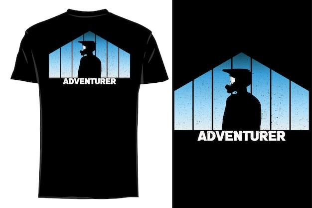 T-shirt de maquete aventureiro retro vintage silhueta