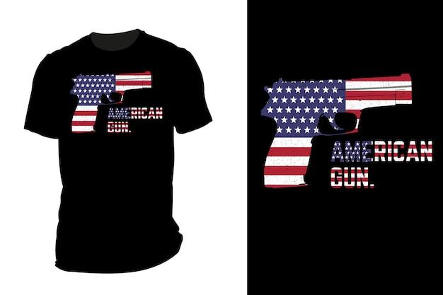 T-shirt de maquete silhueta arma americana retro vintage