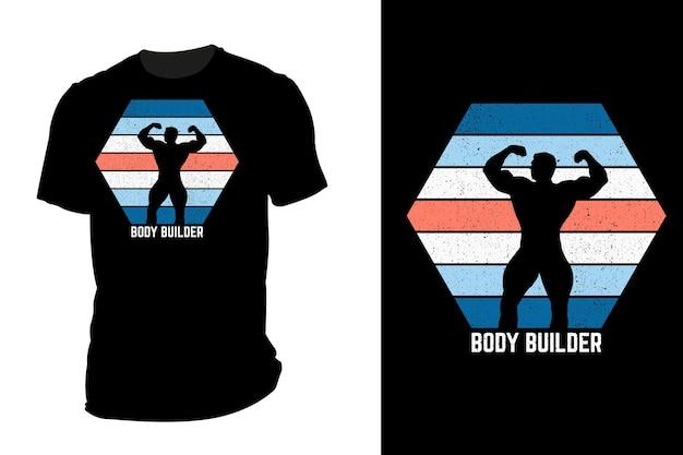T-shirt de maquete silhueta bodybuilder retro vintage