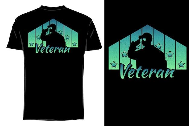 T-shirt de maquete silhueta estrela veterana retrô vintage