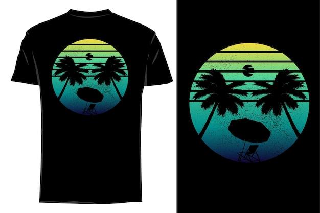 T-shirt de maquete silhueta manhã praia retro vintage