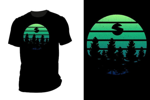 T-shirt de maquete silhueta natureza madeira retro vintage