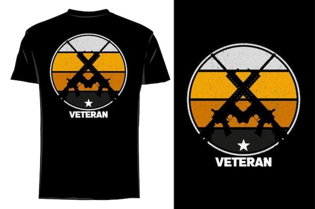 T-shirt de maquete silhueta veterano arma retrô vintage