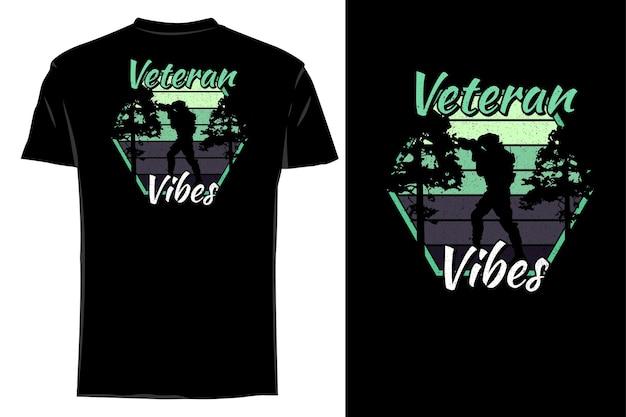 T-shirt de maquete silhueta veterano com vibrações retro vintage
