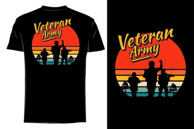 T-shirt de maquete silhueta veterano exército retro vintage