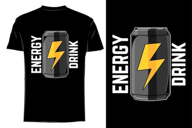 T-shirt de maquete vector bebida energética retro vintage