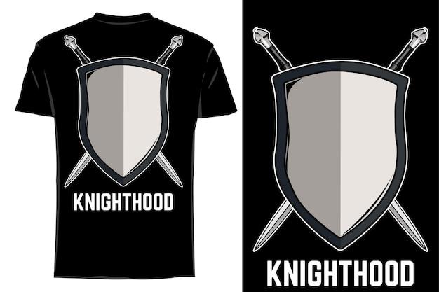 T-shirt de maquete vector cavaleiro retrô