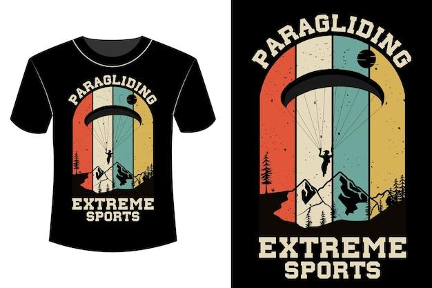 T-shirt de parapente esportes radicais design vintage retro