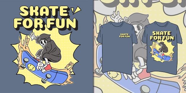 T-shirt de skate retro caveira para diversão