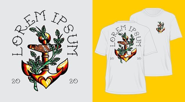T-shirt de tatuagem de âncora com flash