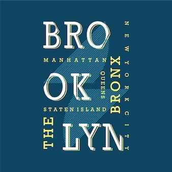 T-shirt de texto de brooklyn