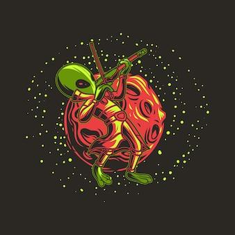 T-shirt design alienígena tocando violino contra a lua ilustração de fundo