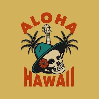 T-shirt design aloha havaí com caveira ilustração vintage