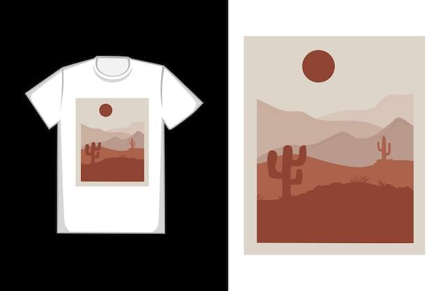 T-shirt design areia do deserto e cores laranja e cinza do sol