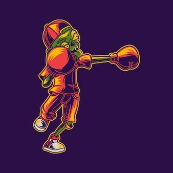 T-shirt design de zumbi atingido com ilustração de boxe à esquerda