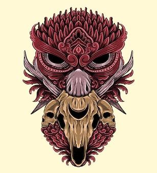 T shirt design desenhado à mão coruja com ornamento de caveira estilo de gravura decoração isolada