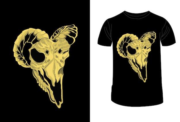 T shirt design desenho crânio cabra ilustração vetorial