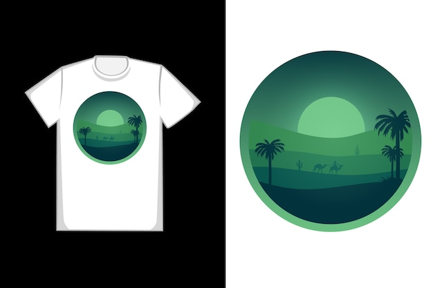 T-shirt design deserto à noite é verde