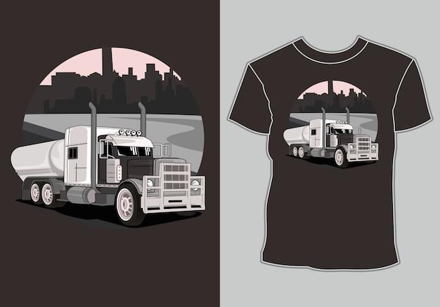 T-shirt design grande caminhão na cidade