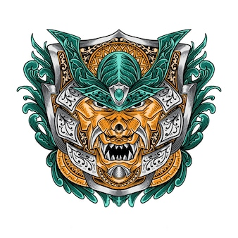 T shirt design japonês máscara hannya oni