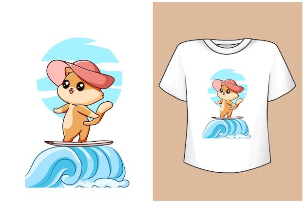 T-shirt design maquete gato engraçado na praia