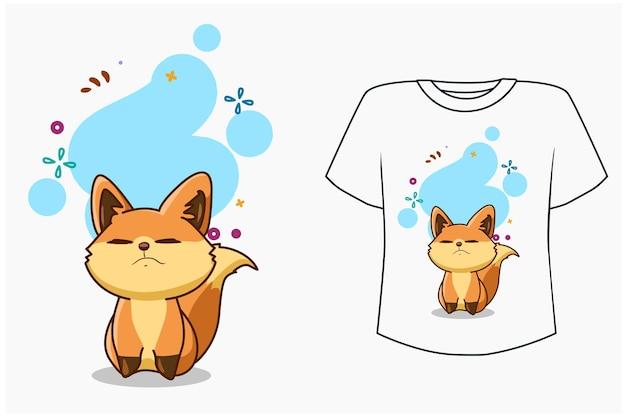 T shirt design maquete ilustração cartoon feliz raposa