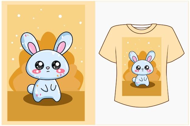 T shirt design maquete ilustração dos desenhos animados do coelho fofo