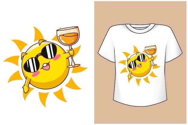 T-shirt design maquete sol fofo na praia verão