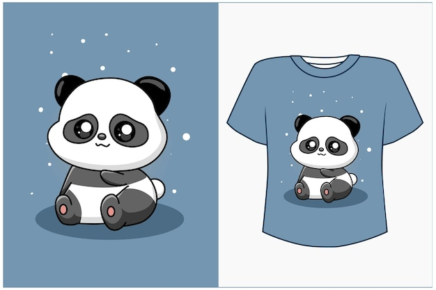 T shirt design mockup cute e panda cartoon illustration