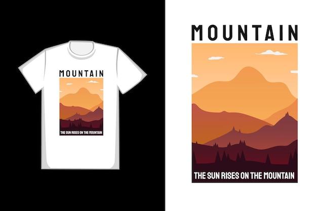 T-shirt design montanha o sol nasce na montanha