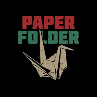T-shirt design pasta de papel com origami de pássaro e ilustração vintage de fundo preto