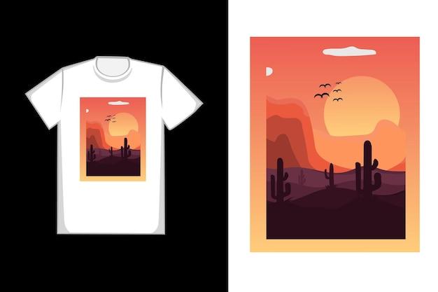 T-shirt design sahara no pôr do sol da tarde