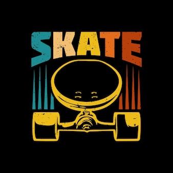 T shirt design skate com skate e fundo preto ilustração vintage