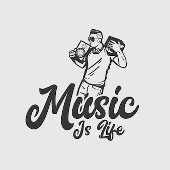 T-shirt design slogan tipografia música é a vida com o homem dançando e pegando emprestado o alto-falante ilustração vintage