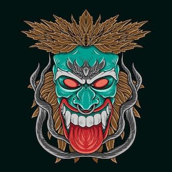 T shirt design tiki ilustração tribal