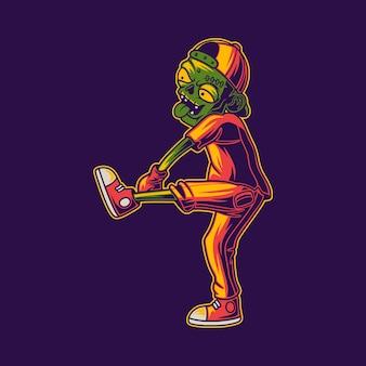 T shirt design zombie jogando bolas ilustração beisebol