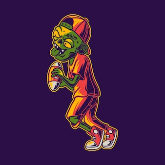 T shirt design zombies catch the ball football illustration
