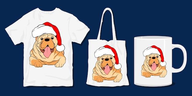 T-shirt do cão. camisa engraçada bonito dos desenhos animados de natal e design de mercadoria