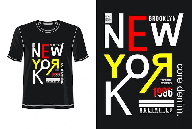 T-shirt do design da tipografia da cidade de nova iorque